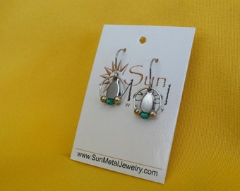 Beautiful aura stainless and teal earrings (Style #216T)