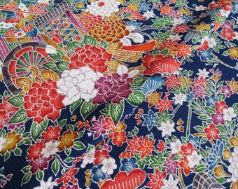 Japanese pure silk cloth from Kyoto Navy Floral pattern