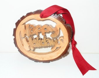Happy Holidays Rustic Branch Ornament In A Western Red Cedar Branch Round - Christmas Gift - Holiday Gift Giving - Handrawn And Handcut