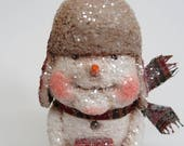 RESERVED FOR JEFF - Paper Mache Snowman - Folk Art Snowman - Whimsical Snowman - Mad Bomber Hat