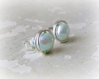 Pearl Post Earrings, Sterling Stud Earrings, Light Blue Posts, Freshwater Pearl Earrings, Pearl Stud Earrings, Silver Post Earrings