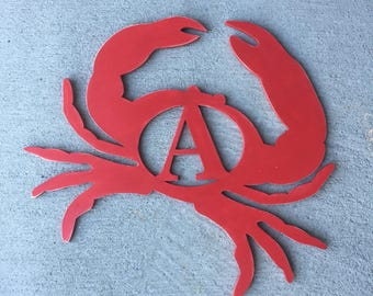 Wood monogram initial crab red blue door decor wall hang summer beach