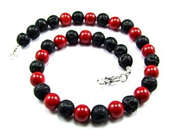 Red Coral & black Volcanic Lava Necklace - N889