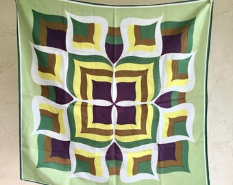 Vintage Scarf Green Yellow Purple Brown White Authentic Retro Acetate Made in Japan Head-wrap Rain Accessories