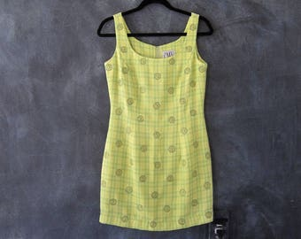 90s Carmen Marc Valvo Mini Dress Chartreuse Embroidered Daisy PLaid Woven Bodycon Raver Dress Ladies Size S