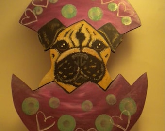 ON SALE-Pug Easter Egg Decoration