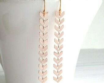 Long Rose Gold Earrings - pink arrow chevron v shape flexible long chain modern sexy delicate minimalist style - ball ear hooks