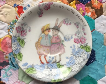 I'm So Glad We're Friends Chicken Bunny Vintage Illustrated Plate