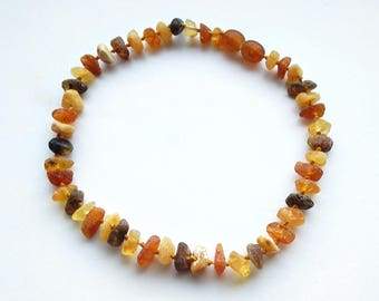 """10.6"""" Natural Baltic Amber child necklace, raw beads, teething necklace, anclet"""