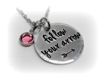 Follow Your Arrow Necklace Inspirational Quote Jewelry Arrow Jewelry Graduation Gift