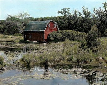 Hand Painted Photograph Red Minnesota Barn