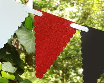 Red Glitter, Black, and White Scallop Pennant Bunting for Ladybug Theme Party