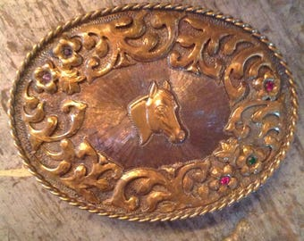 Vintage Diablo Sterling Silver Stones Horse Belt Buckle