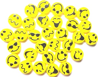 13mm Bright Yellow / Black Expressions Picture Beads - Bag of 30