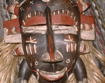 Vintage Antique AFRICAN MASK Hardwood COWRIE Shells