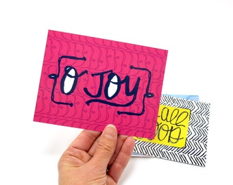 """Friend Card for her  PINK and blue O Joy Postcard HAND lettering, 5.6""""x4.25"""" semi-gloss finish Card"""
