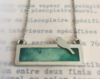 necklace with picture of Montreal, birds, rectangle pewter and resin pendant, stainless chain, tribute to Leonard Cohen, Bird on a wire