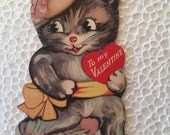 Vintage Valentine Cat Gray Sweet 1960's or Earlier Retro