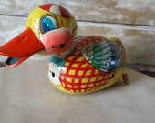 Vintage Duck Friction Toy Tin Type  Childs Toy For Display