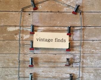 Vintage Pants or Skirt Hanger Metal Red Rubber Clips