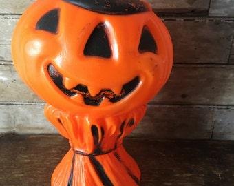 Vintage Empire Halloween Blow Mold Light Jack O Lantern Scarecrow Pumpkin 1960's