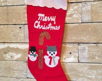 Vintage Christmas Stocking Snowmen 1950's