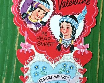 Vintage Valentine Large indians Sweet 1950's  or Earlier Retro Large