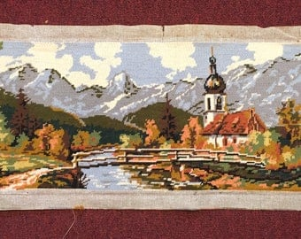 """Needlepoint of Church, Stream & Woods,  Beautiful Nature Scene:  32"""" x 12"""""""