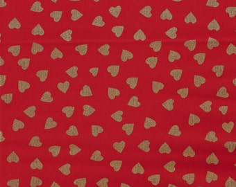 Gold Metalic Hearts on RED Print - Cotton Fabric - by the Yard