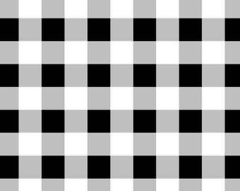 """100% Cotton - 3/8"""" Printed Cute Gingham - White/Grey/Black - by the YARD - Cotton Fabric"""