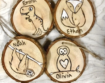 Custom Ornament For Child With Name choose from T-Rex, Sloth, Fox or Owl