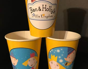 10 Ben & Holly's Little Kingdom Birthday Party Paper Cups | 12 ounces