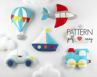 Baby Mobile Pattern, Transportation Mobile, Felt Sewing Pattern, Transport Nursery, Felt Airplane, Train, Car, Boat, Hot Air Balloon