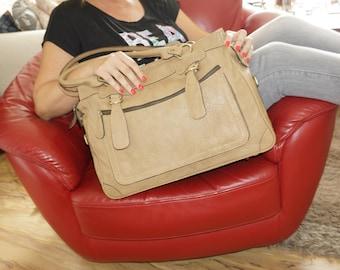 """Leather Tote Bag, Leather Crossbody Bag, Leather Messenger, Leather Handbag, Leather Shoulder Bag, Leather Bag, Rina XL, fits a 17"""" laptop"""