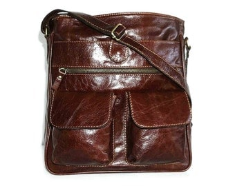 Leather Messenger, Leather Messenger Bag, Leather Crossbody Messenger Bag, Leather Messenger Laptop Bag, Leather Ipad Messenger, Iris-brown!