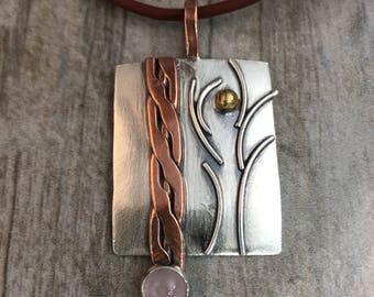 Mixed Metal jewelry, Tree Pendant, Tree of Life, Rose Quartz, Copper, brass, Regina Marie Designs