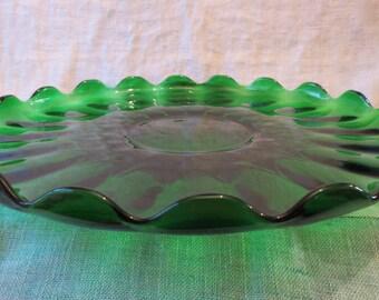 "Viking Evergreen Large Green Glass Platter with Ruffle Edging 14"""