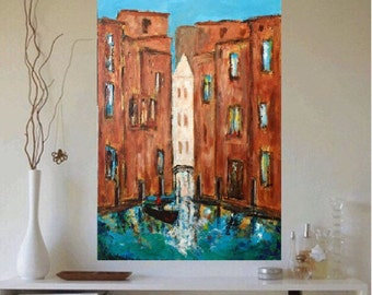 Venice Abstract Original acrylic painting 24 x 36 x 1.25  Ready to  Ship Free in US