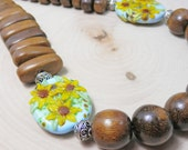 RESERVED Wood Necklace featuring Sunflower Lampwork Beads and Sterling Clasp and Beads