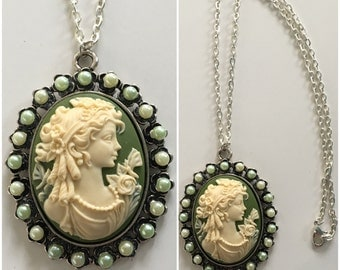 Green gem lady cameo necklace