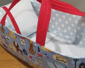Doll Carrier, Puppy Dogs, Blue Lining, 14 Inches Long, Great Toddler Gift, Doll Basket