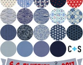 Fat quarter bundle of the S.S. Bluebird 2016 / 2017 fabric collection by Cotton and Steel  - 19 pieces