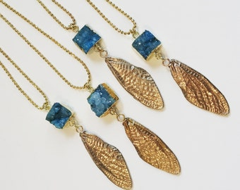 Large Bronze Cicada Wing Dangle with Aqua Druzy bail, Pendant (P-LCWD-BD)