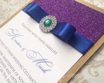 Glitter and Rhinestone Peacock Wedding Invitation elegant wedding purple gold teal royal blue