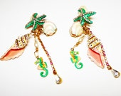 Lunch at the Ritz Beach Earrings - Retired Clip on Starfish & Shells w/ Dangling Enamel Rhinestone Chains - Seahorse - LATR - Vintage 1980s