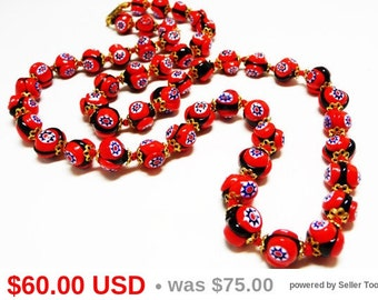 Red Millefiori Beaded Necklace -  Length Hand Knotted Beaded Multi Colored Design - Vintage Italian Glass Beads