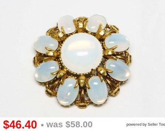 Florenza Opal Glass Brooch - White Oval & Round Cabochon Pin - Designer Signed Vintage Jewelry