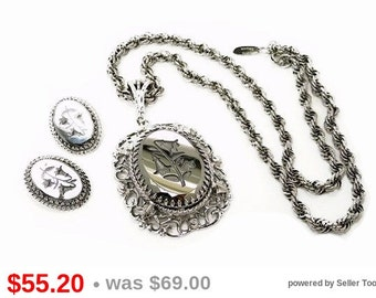 Whiting & Davis Necklace and Earrings Set Lilies of the Valley Hematite Intaglio Cameo Demi Parure