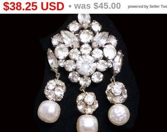 Spring Sale Vintage Art Deco Brooch - Dangling Rhinestones and Pearlescent Beads - Brides Wedding Jewelry