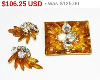Spring Sale Juliana Delizza & Elster Earrings and Brooch Set - D and E Gold Tone and Aurora Borealis Rhinestones  Square Box Frame Pin Cl...